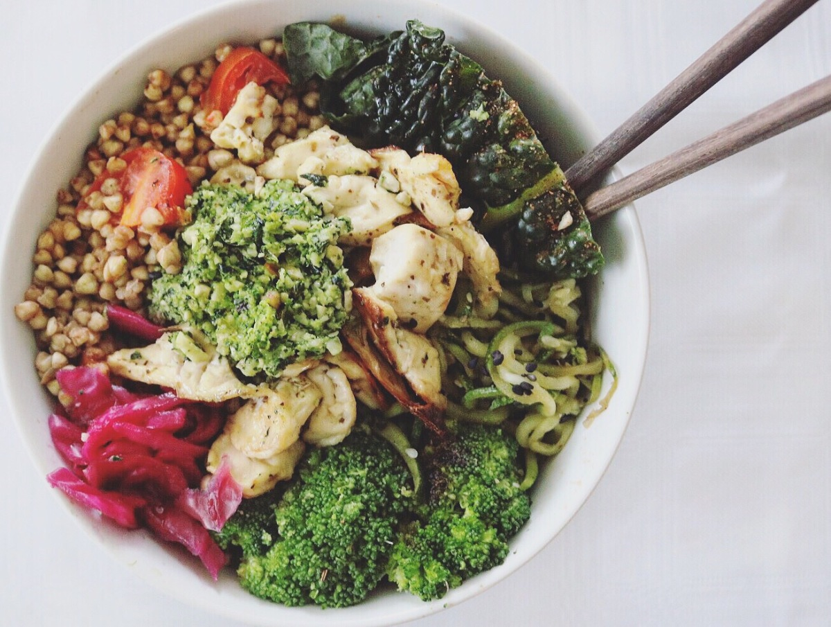 Soy Buckwheat Zoodle Kale Killer Buddha Bowl